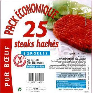 Emballage Steaks Haches Surgeles