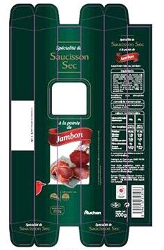 Emballage - Pointe de jambon séchée